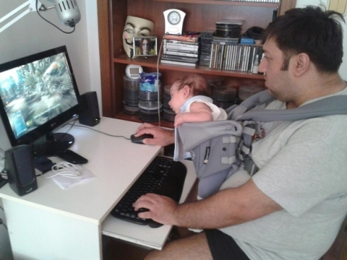 dad killing babies brain with video game